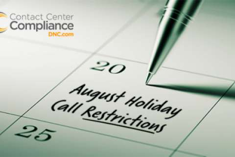 August 2017 Holiday Call Restrictions