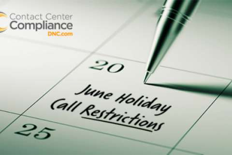 June 2017 Holiday Call Restrictions