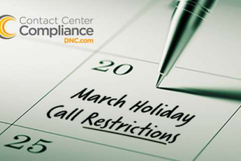 March Holiday Call Restrictions Calendar