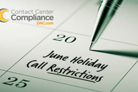 Holiday Call Restrictions June Calendar