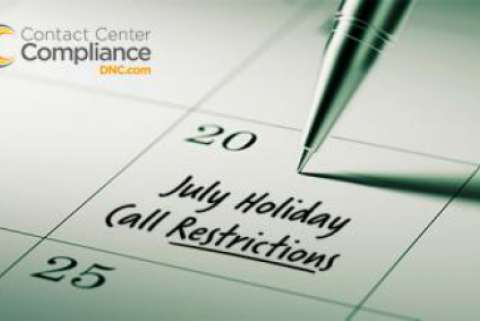 Restricted call dates for July 2018