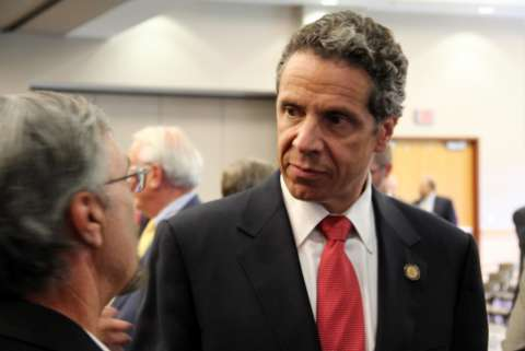 New York governor Andrew Cuomo scowling at somebody