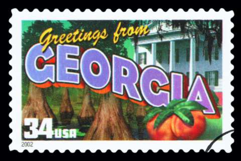 "A vintage style ""Greetings from Georgia"" postage stamp"