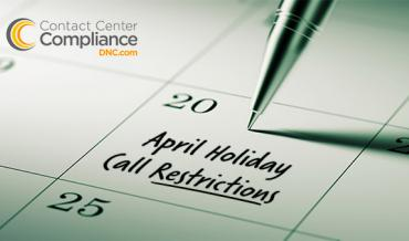 April 2017 Holiday Call Restrictions
