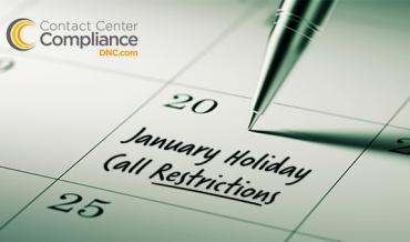 January 2017 Holiday Call Restrictions