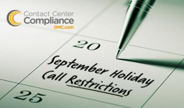 Restricted Do Not Call (DNC) Call Dates for September 2018