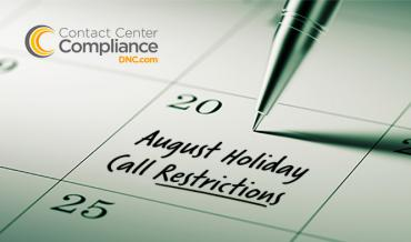 2019 August Restricted Do Not Call Dates