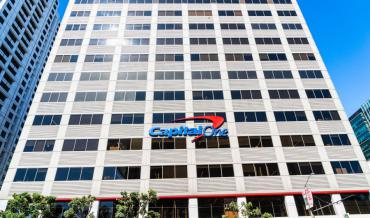 The facade of Capital One's San Francisco headquarters
