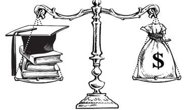 An illustration of scale balancing a sack with a dollar sign against some books and a graduation cap