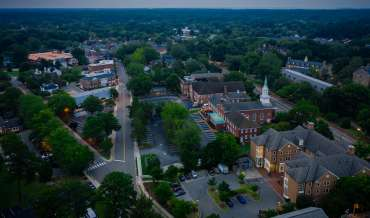 An aerial view of Williamsburg, Virginia