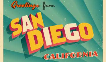 "a vintage looking ""Greetings from San Diego, California"" postcard"