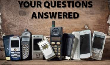 A collection of old cell phones