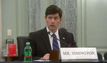 Nathan Simington speaks to the Senate Commerce Committee