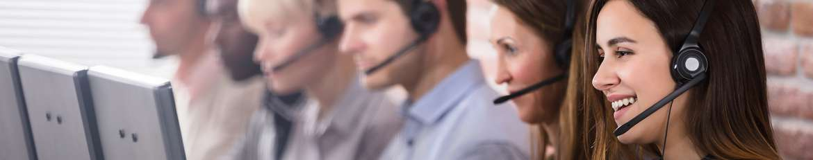 call center employees wearing headsets