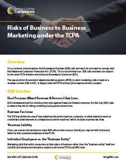 Risks of Business to Business (B2B) Marketing Under the TCPA